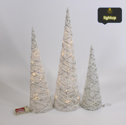 """[53153] 23.6/19.7/15.75""""Christmas cone tree with led lights"""