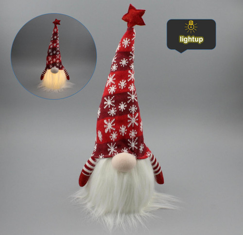 """[53181] 18""""Christmas gnome door stopper with LED"""