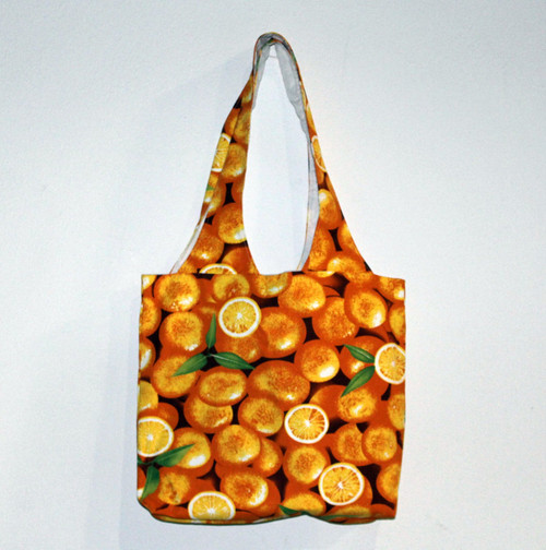"[20001] 29"" x 16"" cotton shopping bag (printed oranges pattern)"