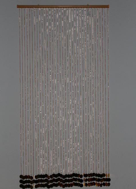 "[22923] plastic bead curtain 35""x70""/36lines(beige bead & gold PVC)"