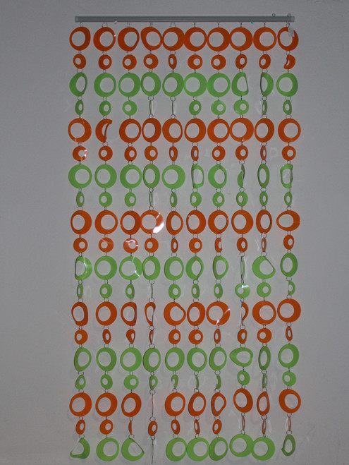 "[25609] PVC curtain 35""x70"" /10 lines (green/orange)"
