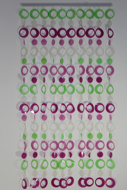 "[25610] PVC curtain 35""x70"" /10 lines(purple/green/white)"