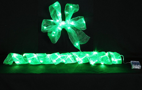 "[46220] 2.5x78""green LED ribbon w/20 lihgts (3xAA batteries)"