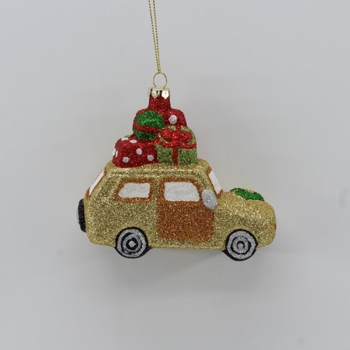 "[48144] 4.5"" Car With Christmas Gifts Ornament (Plastic)"