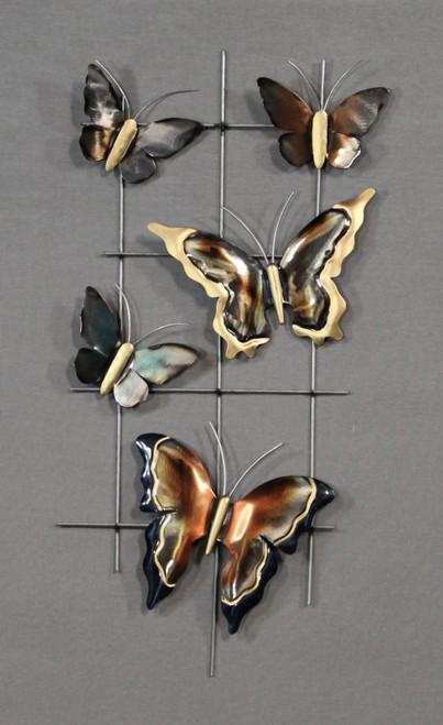 """[48224] 27.5x12x4""""metal wall art (butterflies)"""