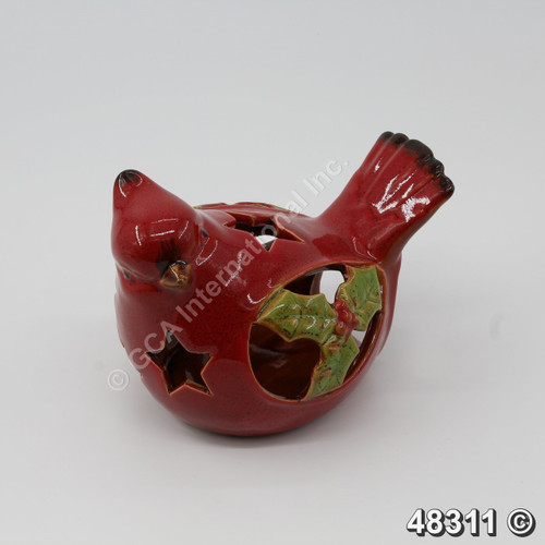 "[48311] 6"" Cardinal Bird With Holly Leaves-Sideway Gaze (Ceramic)"