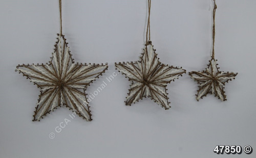 "[47850] 4""/6""/8"" Rattan/Jute Rope Star Ornaments (Set/3)"