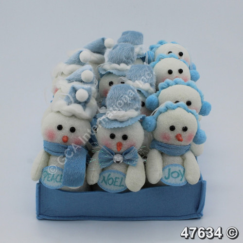 """[47634] 5.5"""" Snowman Ornaments With Tray (3 Asst.-Set/9)"""