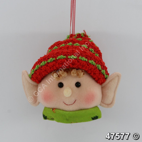"[47577] 6"" Girl Elf Head Ornament"