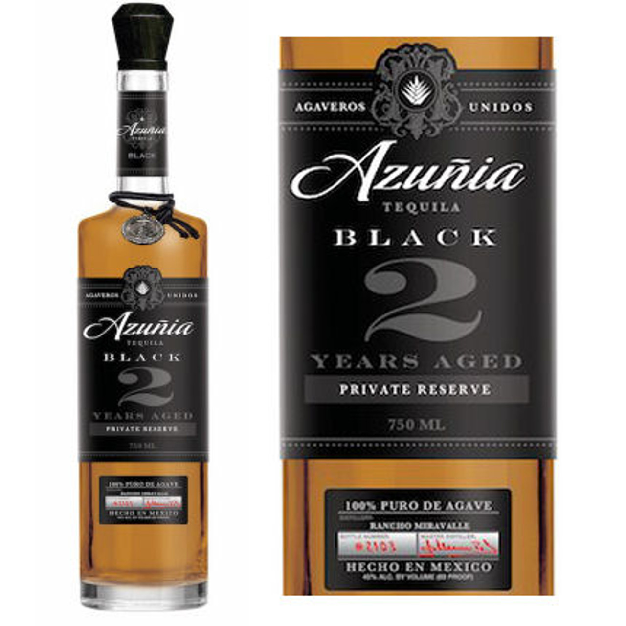 Azunia 2 Year Black Anejo Tequila 750ml