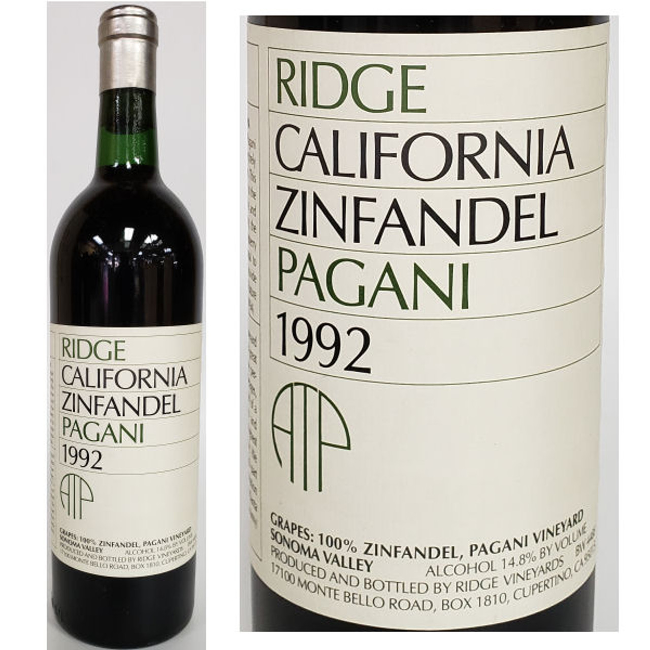 Ridge Pagani Vineyard Sonoma Zinfandel