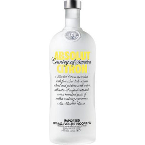Absolut Citron Swedish Grain Vodka 1.75L