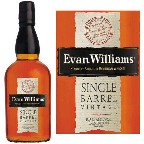 Evan Williams Vintage Single Barrel Kentucky Straight Bourbon Whiskey 750ml