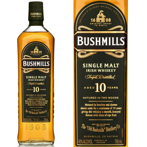 Bushmills 10 Year Old Single Malt Irish Whiskey 750ml