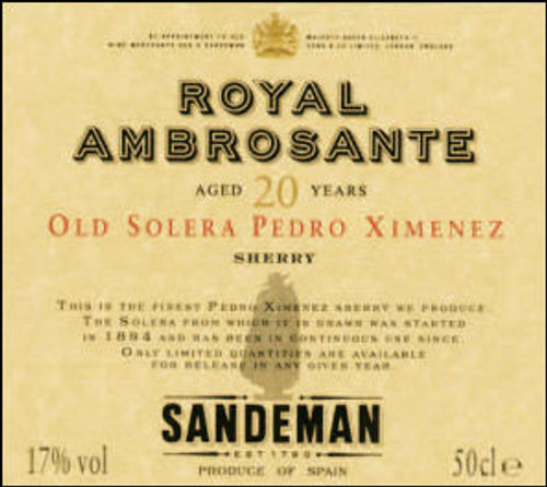 Sandeman Royal Ambrosante 20 Years Old Solera Pedro Ximenez Sherry 500ML