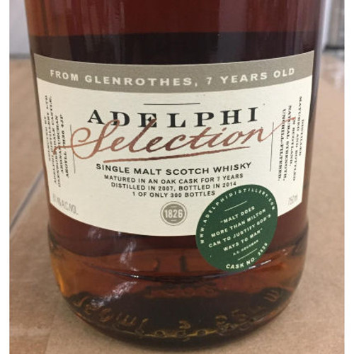 Adelphi Selection Glenrothes 7 Year Old 2007 Single Cask Malt Scotch 750ml