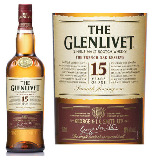 The Glenlivet 15 Year Old French Oak Speyside Single Malt Scotch 750ml