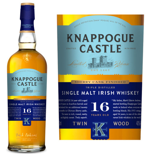 Knappogue Castle Sherry Cask Matured 16 Year Old Single Malt Irish Whiskey 750ml