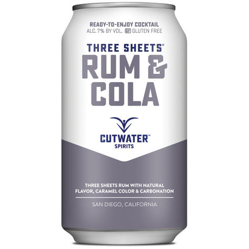 Cutwater Spirits Three Sheets Rum & Cola Ready-To-Drink 4-Pack 12oz Cans