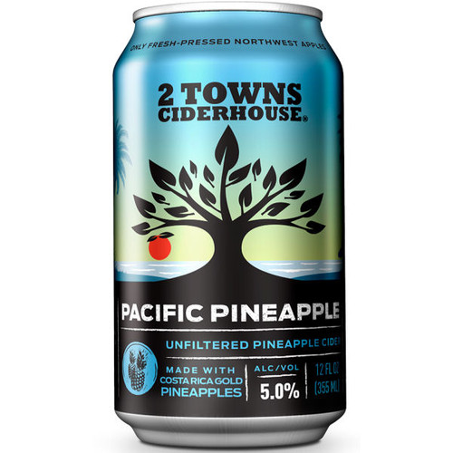 2 Towns Pacific Pineapple Unfiltered Cider 12oz 6 Pack