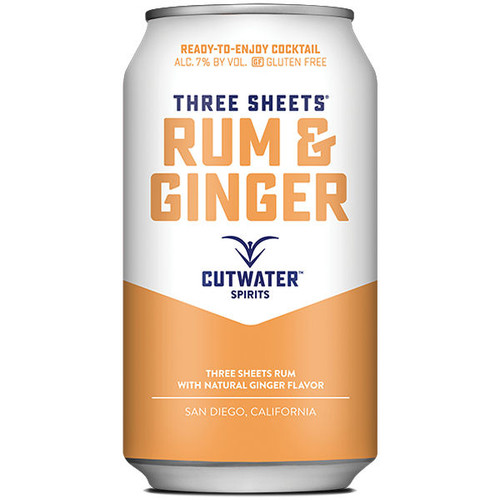 Cutwater Spirits Three Sheets Rum & Ginger Cocktail Ready-To-Drink 4-Pack 12oz Cans