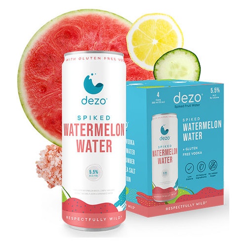 Dezo Spiked Watermelon Water Cocktail 355ml 4-Pack
