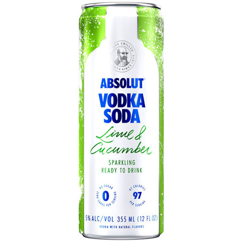 Absolut Vodka Soda Lime & Cucumber Sparkling Ready To Drink Cocktail 355ml 4-Pack
