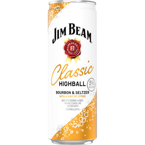 Jim Beam Classic Highball Bourbon Seltzer Ready To Drink 12oz 4 Pack Cans