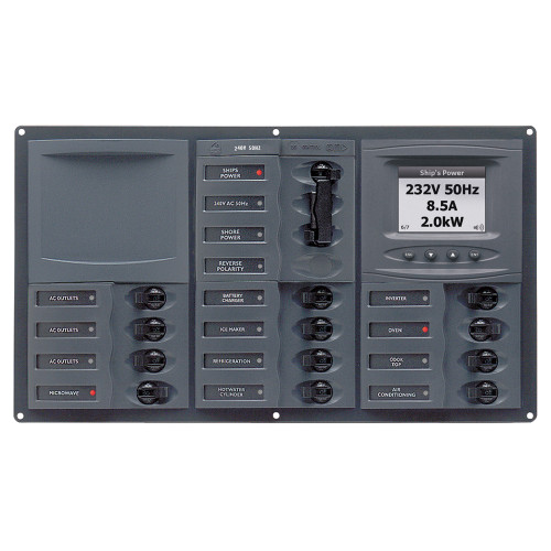 BEP AC Circuit Breaker Panel w\/Digital Meters, 12SP 2DP AC230V ACSM Stainless Steel Horizontal [900-AC3-ACSM]
