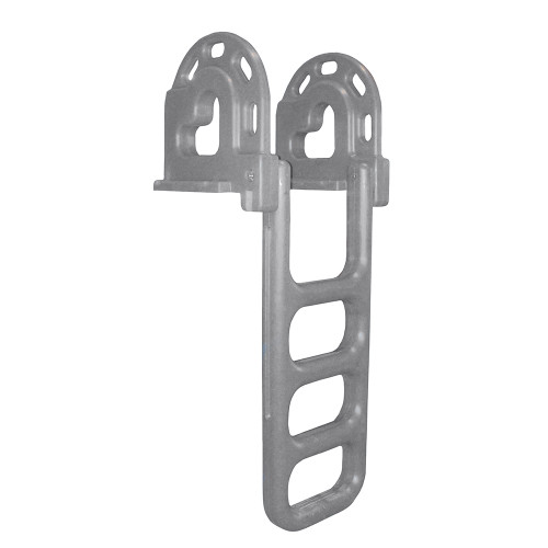 Dock Edge Flip-Up Polyethylene Roto Molded 4-Step Dock Ladder - Grey [2064-F]