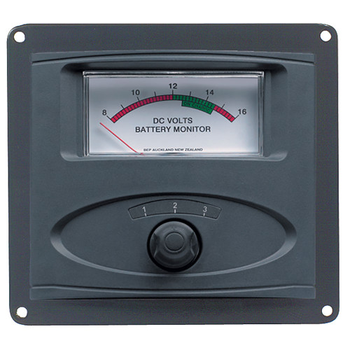 BEP 3 Input Panel Mounted Analog 12V Battery Condition Meter (Expanded Scale 8-16V DC Range) [80-601-0020-00]