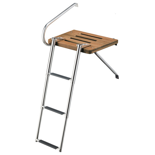 Whitecap Teak Swim Platform w\/3-Step Telescoping Ladder f\/Boats w\/Outboard Motors [68902]