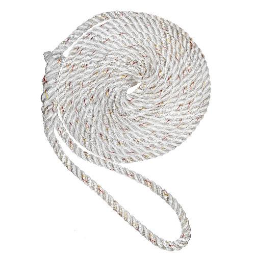 "New England Ropes 1\/2"" X 15 Premium Nylon 3 Strand Dock Line - White w\/Tracer [C6050-16-00015]"