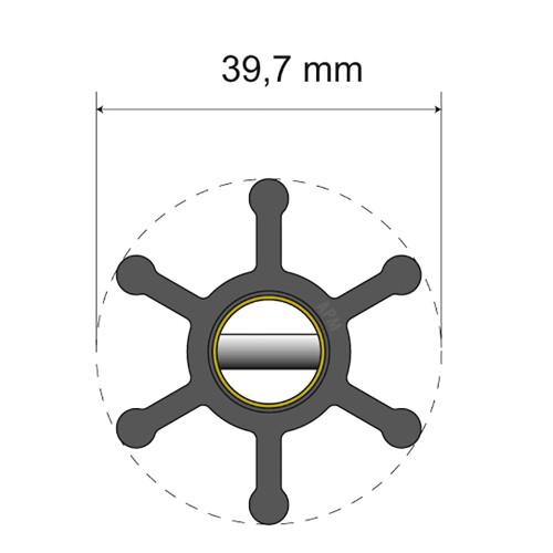 Albin Pump Premium Impeller Kit - 39.7 x 12 x 19.2mm - 6 Blade - Pin Insert [06-01-002]