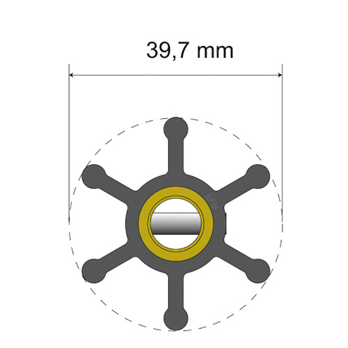 Albin Pump Premium Impeller Kit - 39.7 x 9.5 x 19.2mm - 6 Blade - Pin Insert [06-01-003]