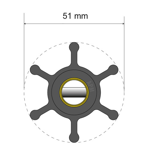 Albin Pump Premium Impeller Kit - 51 x 22 x 12.7mm - 6 Blade - Pin Insert [06-01-006]