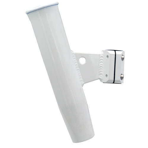 "C.E. Smith Aluminum Vertical Clamp-On Rod Holder 1-5\/16"" OD White Powdercoat w\/Sleeve [53716]"