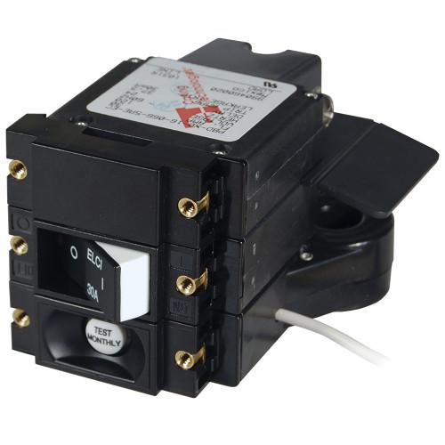 Blue Sea A-Series ELCI Main Circuit Breaker - Double Pole 120V AC 30A - Flat Rocker [3102100]