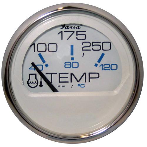 "Faria Chesapeake White SS 2"" Water Temperature Gauge - Metric (40 to 120C) [13828]"