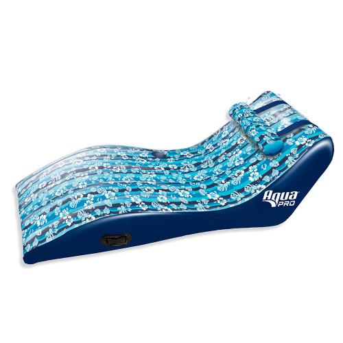 Aqua Leisure Ultra Cushioned Comfort Lounge Hawaiian Wave Print w\/Adjustable Pillow [APL17014S2]