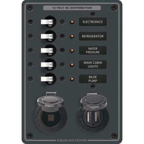 Blue Sea 8120 Breaker Panel 5 Position w\/DC Socket  Dual USB [8120]