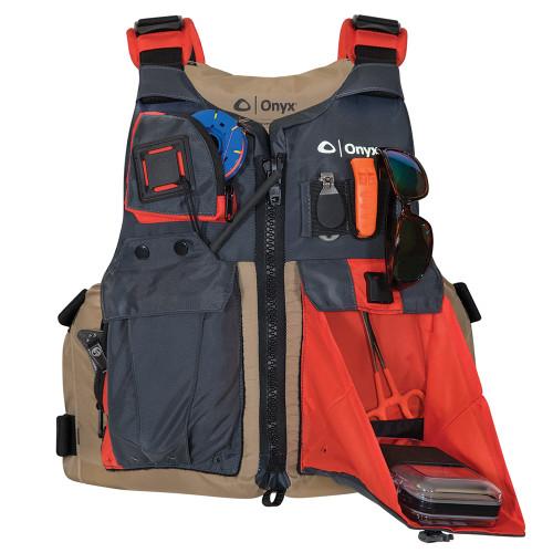 Onyx Kayak Fishing Vest - Adult Oversized - Tan\/Grey [121700-706-005-17]