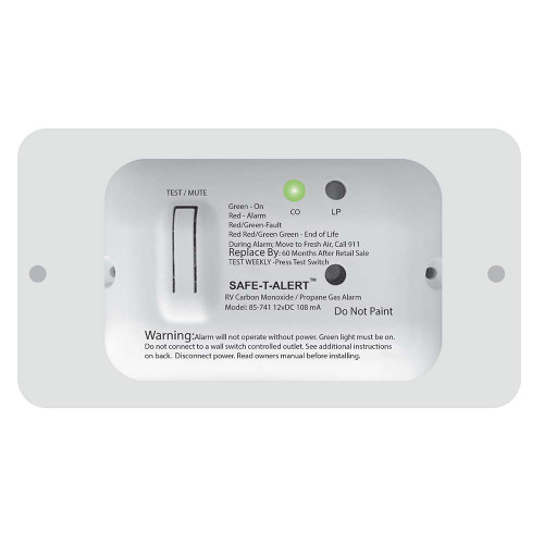 Safe-T-Alert 85 Series Carbon Monoxide Propane Gas Alarm - 12V - White [85-741-WT]