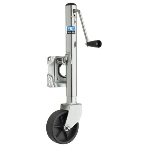 "Pro Series 1000 lbs. Zinc Plated Swivel Jack w\/6"" Poly Wheel [EJ10000101]"