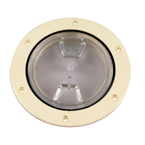 "Beckson 4"" Clear Center Screw-Out Deck Plate - Beige [DP40-N-C]"