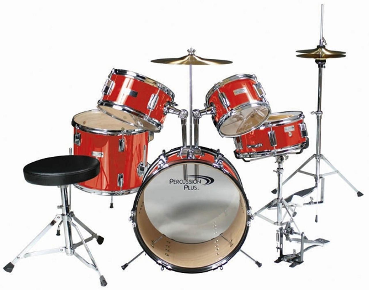 Percussion Plus 5 Piece Junior Drum Set Red Gearclubdirect