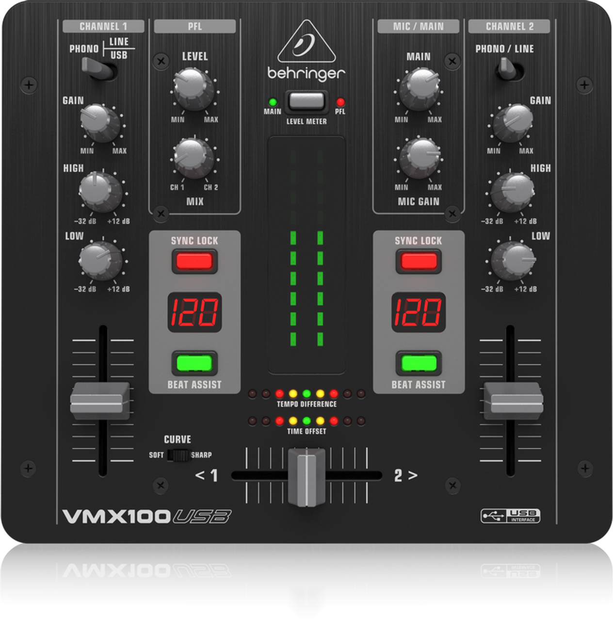 Behringer Professional 2-Channel DJ Mixer with USB/Audio Interface