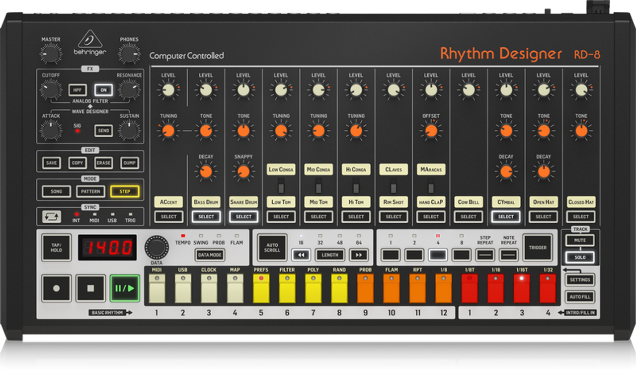 BEHRINGER RHYTHM DESIGNER RD-8 - Classic Analog Drum Machine with 16 Drum  Sounds, 64 Step Sequencer, Wave Designer and Dual-Mode Filter