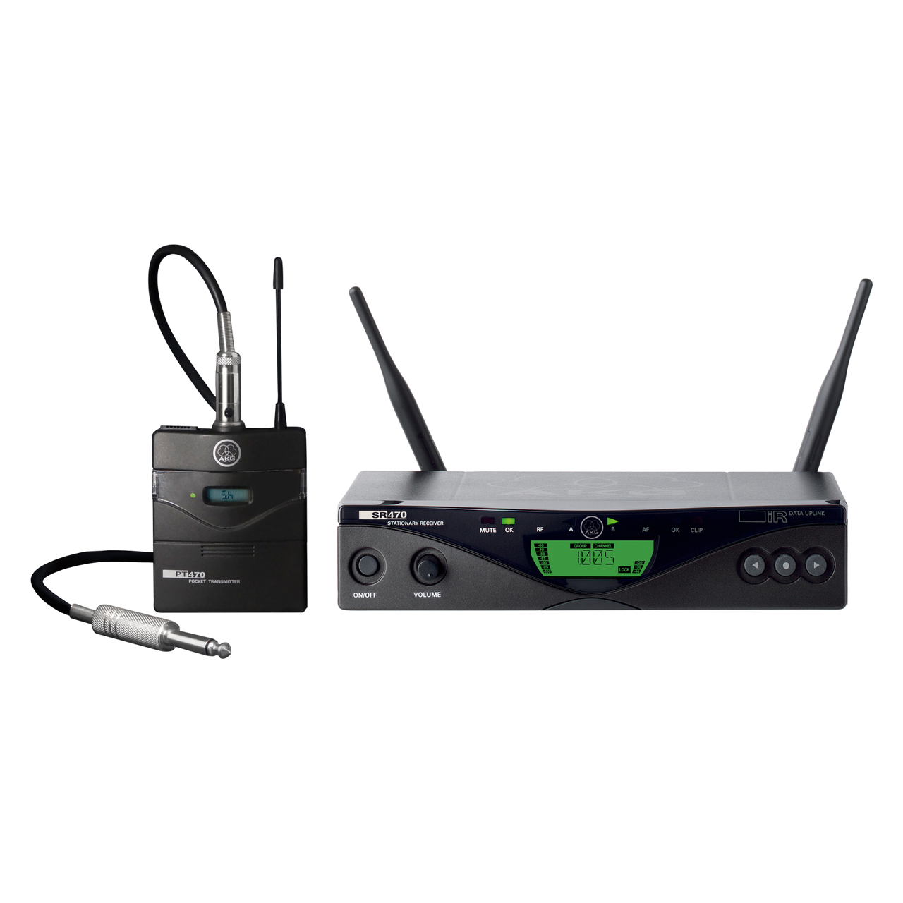 Access Instr akg 3307h00380 - wms470 instr set bd8 50mw - eu/us/uk wireless bodypack  microphone system, sr470 stationary receiver, pt470 bodypack transmitter,