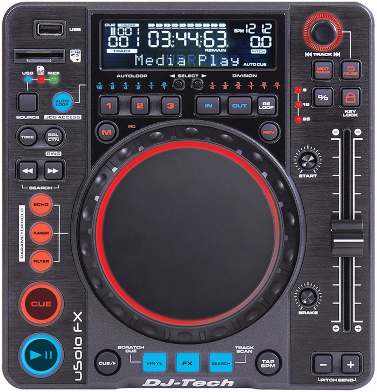 DJ Tech USOLO FX Compact DJ Media Player and Controller